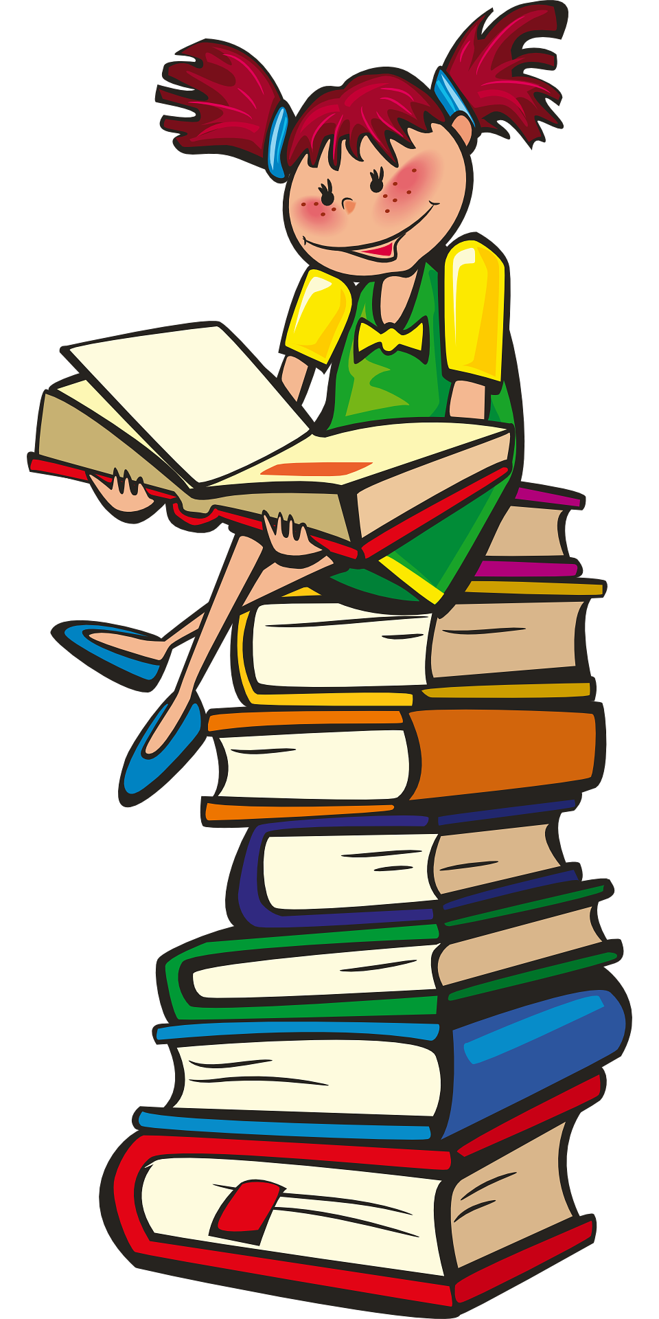 Cartoon girl with books